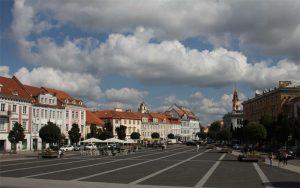 Rathausplatz, vom Rathaus aus gesehen